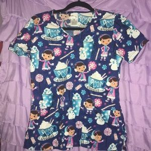 Disney Doc Mcstuffins scrub top cocoa and cuddles